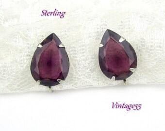 Earrings Sterling Purple Amethyst Glass Screw back