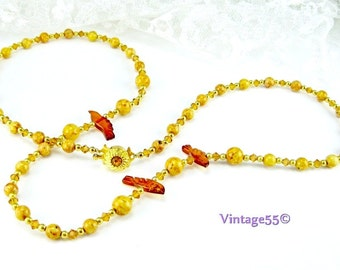 Necklace Beaded Jasper Amber Birds