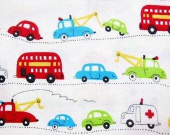 Japanese Fabric - Cotton Fabric - Fun Vehicles - Half Yard - Junko Matsuda LIMITED YARDAGE