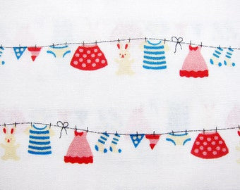 Japanese Cotton Fabric - Sweet Laundry on White - Fat Quarter LIMITED YARDAGE