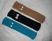 Crochet Head Warmer, Crochet Ear Warmer, Headband, Rhinestone Ear Warmer, Gift Idea