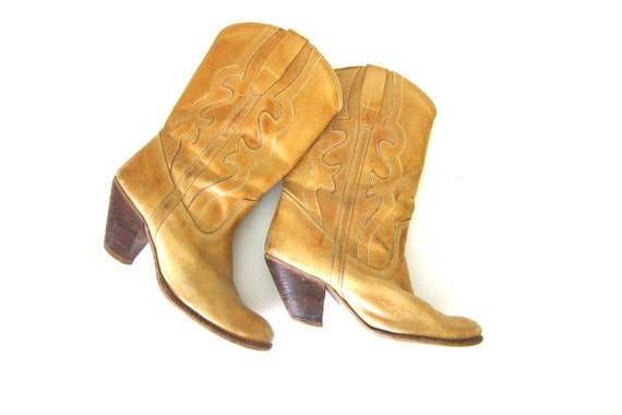 80s leather cowgirl boots light brown BOHO boots western cowgirl boots Pointy toe boots Tall Fall Boots womens boots