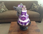 Elephant Safari purple Diaper Cake Jungle Boogie Girl  Baby shower gift or centerpiece other animals available