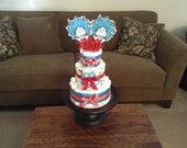 Thing one and thing two Dr Seuss Diaper Cakes Baby Shower Centerpieces other sizes and Characters available