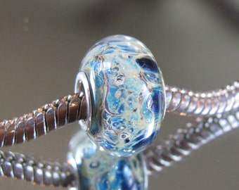 """Tangled Sky Glass """"Chaos"""" #2 Fully Sterling Silver Lined Lampwork Charm Bead BHB"""