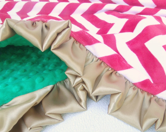 Gold, Red and Green Chevron Minky Baby Blanket - for boy or girl