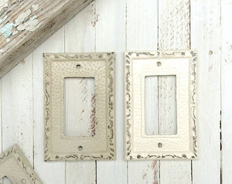Metal Wall Decor, Light Switch Cover, Almond, Rocker Switch Plate, Decora Switch Plate, STYLE 101