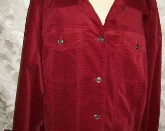 Coldwater Creek Red Velvet Shirt