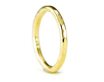 18k Gold Wedding Ring - 2mm Hammered Gold Halo Band - Solid 18k Gold Ring