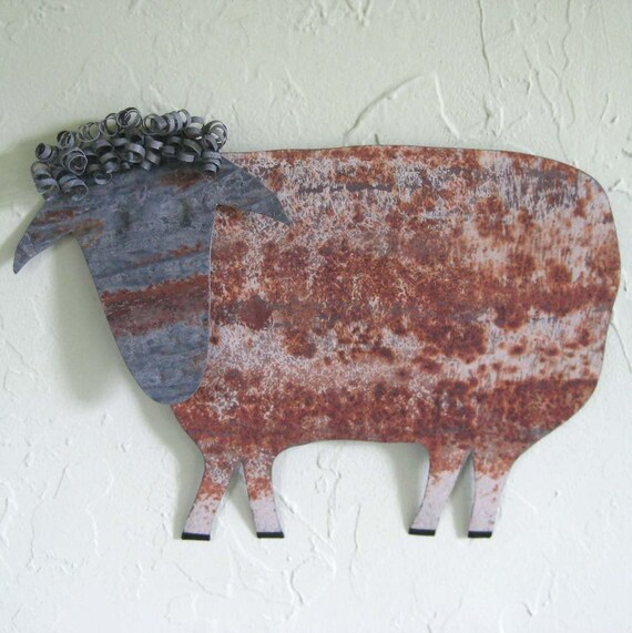 Metal Wall Decor Animals : Metal wall sculpture sheep decor folk art by
