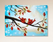 Love Birds Painting, Tree Painting, Blue Painting on Canvas, Red Christmas Decor, Whimsical Wall Art, 18x24