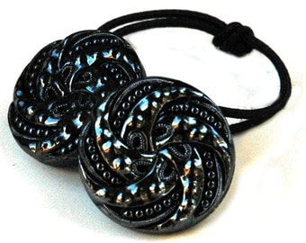 Gunmetal Silver Pony Tail Holder, Decorative Elastic Hair Band, Vintage Glass Button Accessory, Victorian Era Style,  Dressy Ponytail Holder