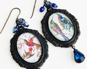 Bird Dangle Earrings Large Vintage Bird Cameo Earrings Bird Art Jewelry Hummingbird Earrings Victorian Bird Jewelry Vintage Art Earrings