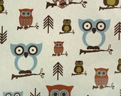 "RESERVED - Khaki Blue Hooty Owls - Premier Prints Fabric 7 oz Cotton 54"" wide"