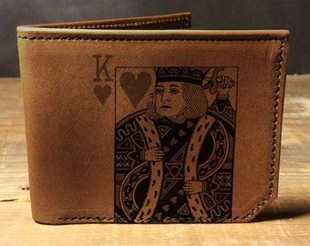 leather wallet - mens wallet - King of Hearts wallet- 031