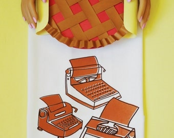 Typewriters screen printed kitchen tea towel