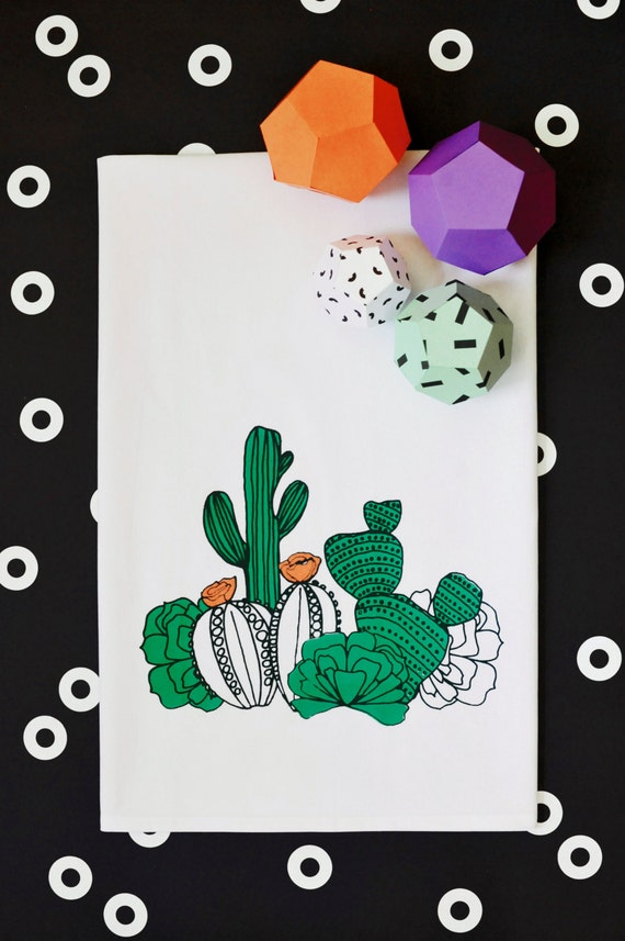 Cactus screen printed kitchen tea towel by pinestreetmakery