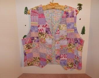 Pink and Lavender Patchwork Vest