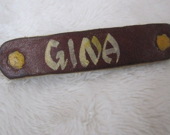 vintage barrette, leather , name barrette, Gina
