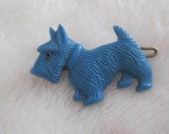 vintage barrette,  little blue scottie scottie dog