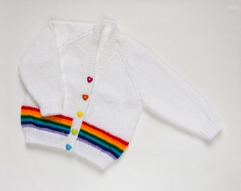Girls Rainbow Cardigan. Hand Knit Cardigan. Hand Knit Sweater. Hand Knit Childrenswear.
