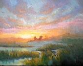 "Impressionist art, Marsh Sunset Painting, Marsh Sunset Landscape Painting , Small Oil Painting, ""Marsh Sky"", 11x14x1.5"" Oil"