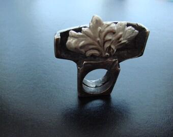 Sculptur Atlantis lost city Heavy  Bronze  Ring