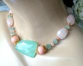 Aqua Chalcedony Chunky Choker Necklace Rose Quartz Coral Aquamarine Chunky Statement Choker Pastel Preppy Statement Summer Jewelry Spo