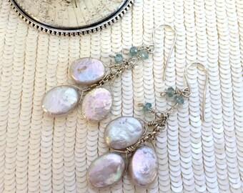 Silver Coin Pearl Earrings Wire Wrap Cluster Dangle Blue Zircon Gemstone Sterling Silver Long Pearl Dangle Earrings Bridesmaid Earrings