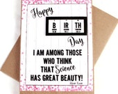 Science Girl Birthday Card - Chemistry, Periodic Table of Elements - Marie Curie, Science Teacher Gift Idea