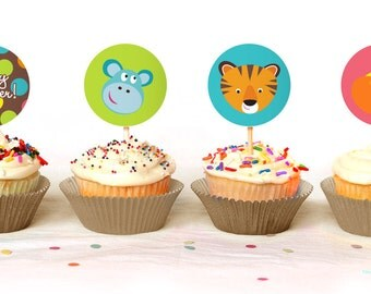 Colorful Safari Cupcake Toppers - Instant Download - Print Your Own - BAB29_CT