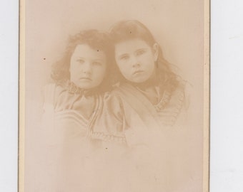 1800s vintage cabinet photo. of two young girls, from Atwood, Ill