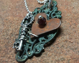 Victorian Steampunk Necklace - Key to My Heart - Sterling Silver, Copper, Garnet - Handmade