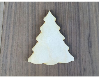 6 Pieces- Craft Wood Shapes Christmas Tree F
