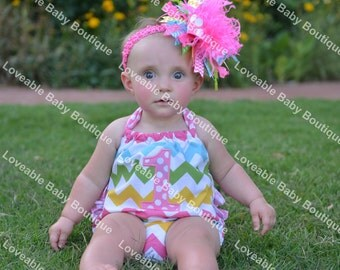 Bubble Romper and/or Over the Top Bow Birthday #1 Applique Chevron Pastel Hot Pink Aqua Green Yellow