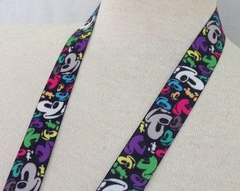 Disney Rainbow Mickey Mouse Faces Ribbon Lanyard