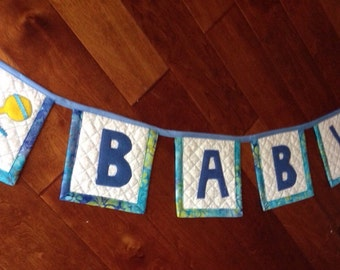 Baby Boy Shower Bunting, Quilted Baby Shower Banner, Baby Boy Bunting, Baby Boy Shower Decor, Baby Decorations, Baby Party Decor