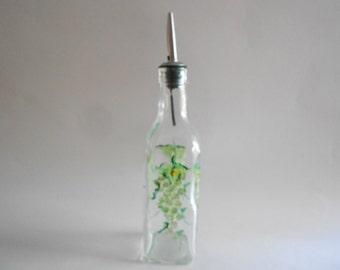 Green Grapes Olive Oil Bottle Olive Oil Jar Olive Oil Dispenser Vinegar Bottle Hand Painted Bottle Medium Size Clear Glass Grapes Kitchen