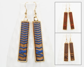 Wood Dangle Earrings - Chevron Pattern Laser Engraved (Brass Setting / Choose Your Color) Hypoallergenic