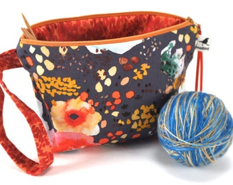 Knitting Crochet Project Bag Clutch - Wildflower
