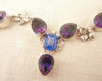 SALE ==== Vintage Sterling Pear Cut Mystic Quartz Gemstone Link Necklace with Silver Flowers