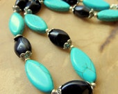 Turquoise Necklace, Turquoise and Black, Native Style Jewelry, Handcrafted Jewelry, Southwest Style, Boho Jewelry