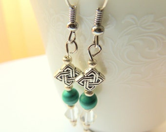 Malachite and Crystal Earrings, Celtic Knot Earrings, Green and White, Handcrafted Jewelry, Gemstone Jewelry, Dangle Earrings