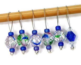 Beaded Stitch Markers Snag Free Clear Blue Snagless DIY Knitting Supplies Gift for Knitter