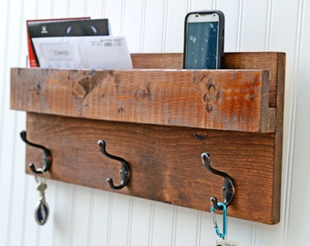 Cabin Style, Entryway Storage, Coat Rack, Mail Organizer, Farmhouse Rack with Mail Slot, Wood Decor