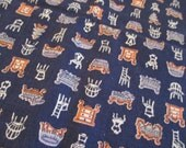 """Vintage Feed Sack Fabric with Furniture Design 1 Yard by 38"""""""