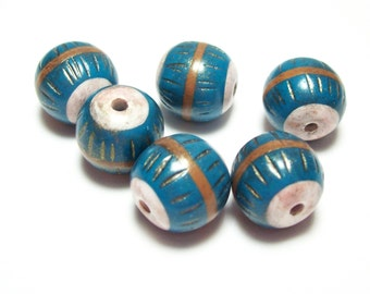 Handmade Polymer Clay Beads Turquoise and Gold with Mica
