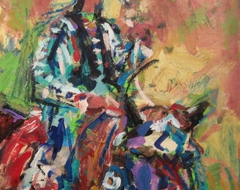 Western Native American Horse and rider, Impressionist Southwest Painting, RussPotakArtist
