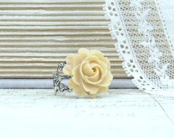 Beige Ring Rose Ring Fashion Ring Rose Jewelry Earth Tone Ring Adjustable Ring Woodland Jewelry