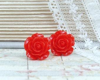 Red Rose Earrings Red Flower Studs Rose Stud Earrings Red Rose Studs Hypoallergenic Red Earrings